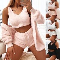 ❤️ Women/'s Teddy Bear Fur Tracksuit Sweatshirt Crop Tops Shorts Suit Lounge Wear