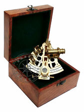 Kelvin & Hughes London Polished Brass Ship Sextant Astrolabe With Wooden Box