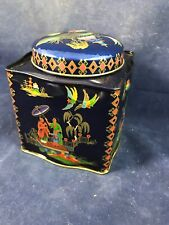 Vintage Damer Collectible Decretive Storage Tin Made In England w Oriental Motif