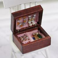 1pc 1:12 Scale Dollhouse Miniature Filled Wooden Jewelry Accessories S9W7
