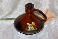 Weller ? Art Pottery Brown Glaze Scenic Squat VASE Vintage