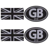GB Union Jack Sticker Set Small Black Silver Car Van Motorbike Scooter Vespa