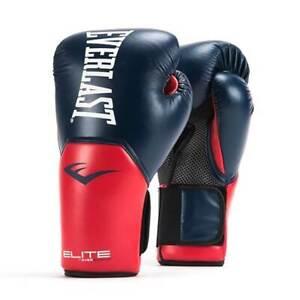 Everlast Pro Style Elite Workout Training Boxing Gloves Size 14 Ounces, Navy/Red