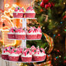 3 Tiers Cupcake Stand Round Acrylic Cake Tower Holder Birthday Christmas Party