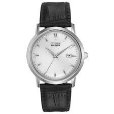 Citizen Eco-Drive Men's Silver Dial Black Leather Strap 40mm Watch BM7190-05A