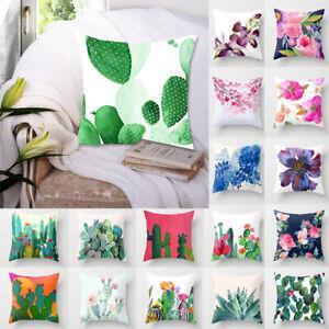 Cactus Tropical Flower Cushion Cover Cotton Linen Throw Pillow Case Home Decor
