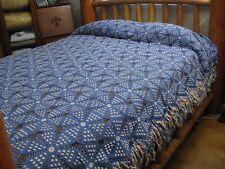Vintage Crochet Popcorn Ecru Delft Blue Fringe Queen Full Twin Bedspread 96x64