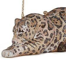 Judith Leiber Crystal Evening Bag Gold Wild Cat Jaguar Animal Minaudière NEW