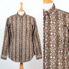 Da Uomo Vintage 70's anni'70 Camicia Marrone retrò modello Button Down Collare Mod S