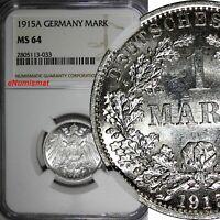 Germany-Empire Wilhelm II Silver 1915 A 1 Mark NGC MS64 GEM BU KM#14