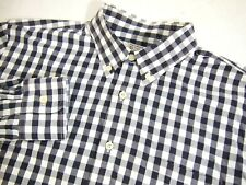 J.Crew Mens Shirt L Grey White Gingham Plaid Long Sleeve Button Front Collared