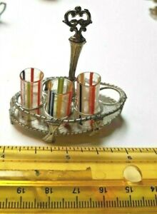 OLD GERMAN 3 STRIPED GLASSES W SOFT METAL HOLDER DOLLHOUSE FRENCH DOLL ACCESSORY