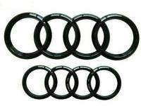 2pcs Audi Gloss Black Rings Front Rear Bonnet Badge Rings 285mm 202mm SET Q7 A6