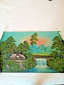 "Vintage Indonesian Oil Painting on vintage flour sack 19.5""x 32"" unframed"