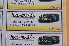 QA 1 ex étiquette autocollant Heco modeles Porsche 917 LH N°21 Le Mans 1971