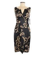London Times Sheath Cocktail Dress Size 6 Plunge Sleeveless Black Satin Ruched