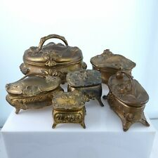 c1910 Antique Art Nouveau Gold Gilt Bronzed Metal Jewelry Trinket Box Lot