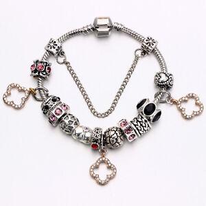 WOW NEW Silver Pink Black Beads Gold Rhinestone European Multiple Charm Bracelet