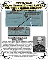 CIVIL WAR 1878 Major General Duval 2x WIA, 9th West Virginia Inf. Signed Doc.
