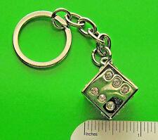 RHINESTONE JEWELED METAL DICE  - keychain  key chain GIFT BOXED