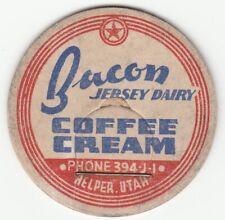 MILK BOTTLE CAP. BACON JERSEY DAIRY. HELPER, UT.