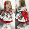 Baby Kids Girls Christmas Santa Print Bow Princess Dresses Clothes Xmas Dress