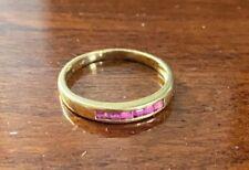 Art Deco-Style Channel Set Square Princess Cut Vintage Ruby Ring 14K Gold Size 5