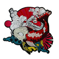 Japanese Koi Fish Embroidered Patch Sew Iron On Applique Badge DIY Craft Decor