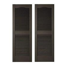 Black Louvered Vinyl Exterior Shutters Pair 15x 60'' Window Edge Decor Rectangle