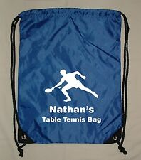 SPORTS GYM EXERCISE PE SCHOOL BAG PERSONALISED TABLE TENNIS DRAWSTRING BAG