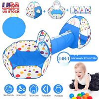 3-in-1 Super Fun Pop-Up Play Tent Kids Indoor Toys w/Tunnel Ball Pit Game Zone