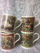 Royal Worcester Country Cottages Bone China Mugs x 4