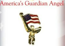New listing Usa Guardian Angel Holding American Flag Lapel or Hat Pin by Osc Made in Usa New