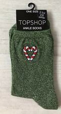 Ladies/Girls Green Glittery Christmas Candy Canes Cotton Ankle Socks