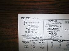 1963 Ford SIX Series Models with Taxi & Police Special 223 CI L6 Tune Up Chart