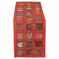 """Indian Handmade Embroidered Cotton Table Runner Wedding Party Decoration 16X72"""""""