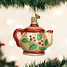 OLD WORLD CHRISTMAS HOLLY TEAPOT GLASS CHRISTMAS ORNAMENT 32247