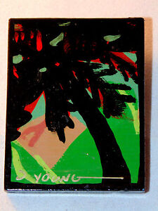 Artisan Wooden Palm Tree & Mountain Lapel Pin Signed D. Young Handmade Scenic