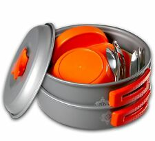 13 Piece Mess Kit - Lightweight Collapsable Non-Stick Aluminum Camping Cook Set