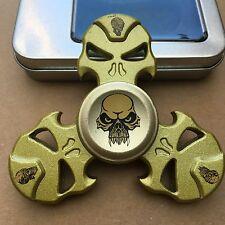 Cráneo Sinc Metal Triple dedo mano Spinner intranquilo Spinning Juguete De Acero Rodamiento