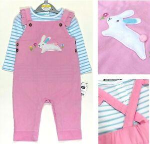 Baby Girls Pink Dungarees EX Highstreet Bunny Rabbit Top Set Summer Outfit NEW