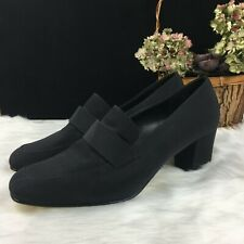 Vintage Sam & Libby Black Loafer Shoes Size 7.5 Square Toe & Block Heels