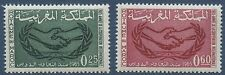 1965 MAROC N°486/487** coopération internationale, mains, 1965 Morocco hands MNH