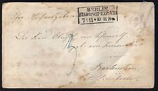 GERMAN 1851 PRUSSIA ONE GROCHEN POSTAL COVER PRINTED IN ERROR ON THE INSIDE WITH