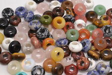 FREE Lots 10ps mixed gemstone Round Loose Beads 5mm Hole Fit European Bracelet
