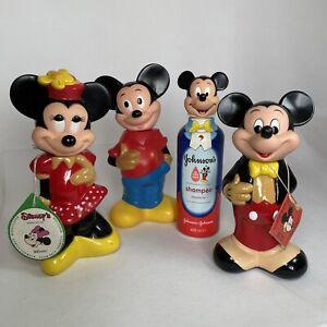 Vintage Mickey & Minnie Mouse Empty Bubble Bath Figurines Figures Plastic Bottle