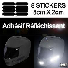 8 Stickers NOIR REFLECHISSANT Sécurité motard Visibilité la nuit Reflective