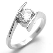 Diamond-Unique Crossover Shank 1ct Engagement Ring Platinum