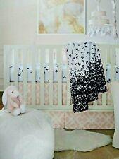 Ivanka Trump Nursery Bedding Set Pink White Black Sheet Skirt Quilt New Sealed