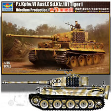 TRUMPETER 1/35 TIGER I (MEDIUM PRODUCTION) W/ZIMMERIT MODEL KIT 05939